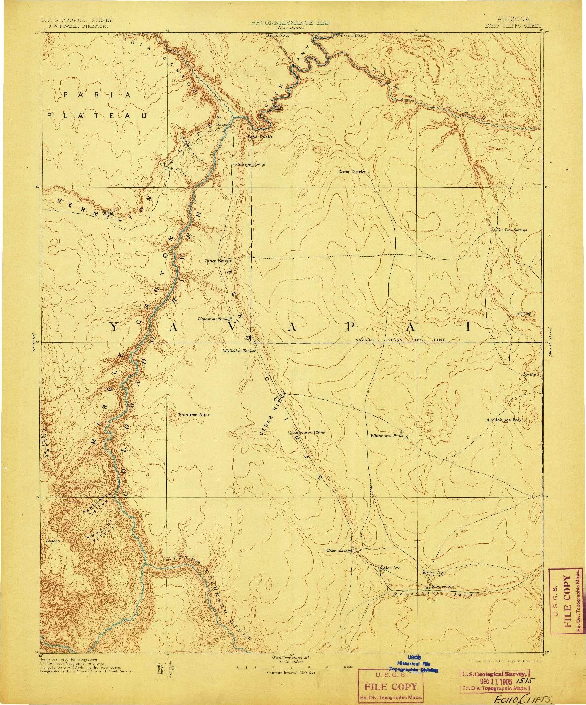 USGS 1:250000-SCALE QUADRANGLE FOR ECHO CLIFFS, AZ 1891