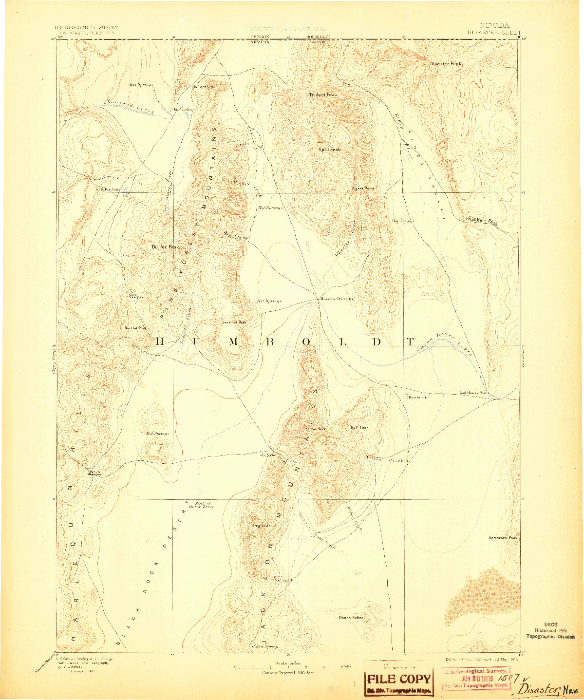 USGS 1:250000-SCALE QUADRANGLE FOR DISASTER, NV 1893