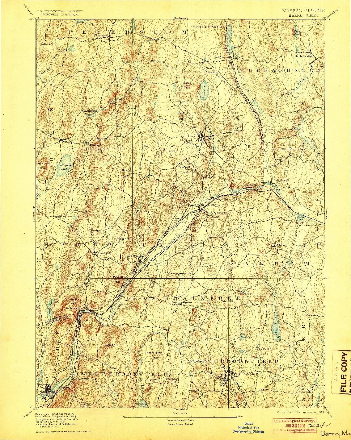 USGS 1:62500-SCALE QUADRANGLE FOR BARRE, MA 1894