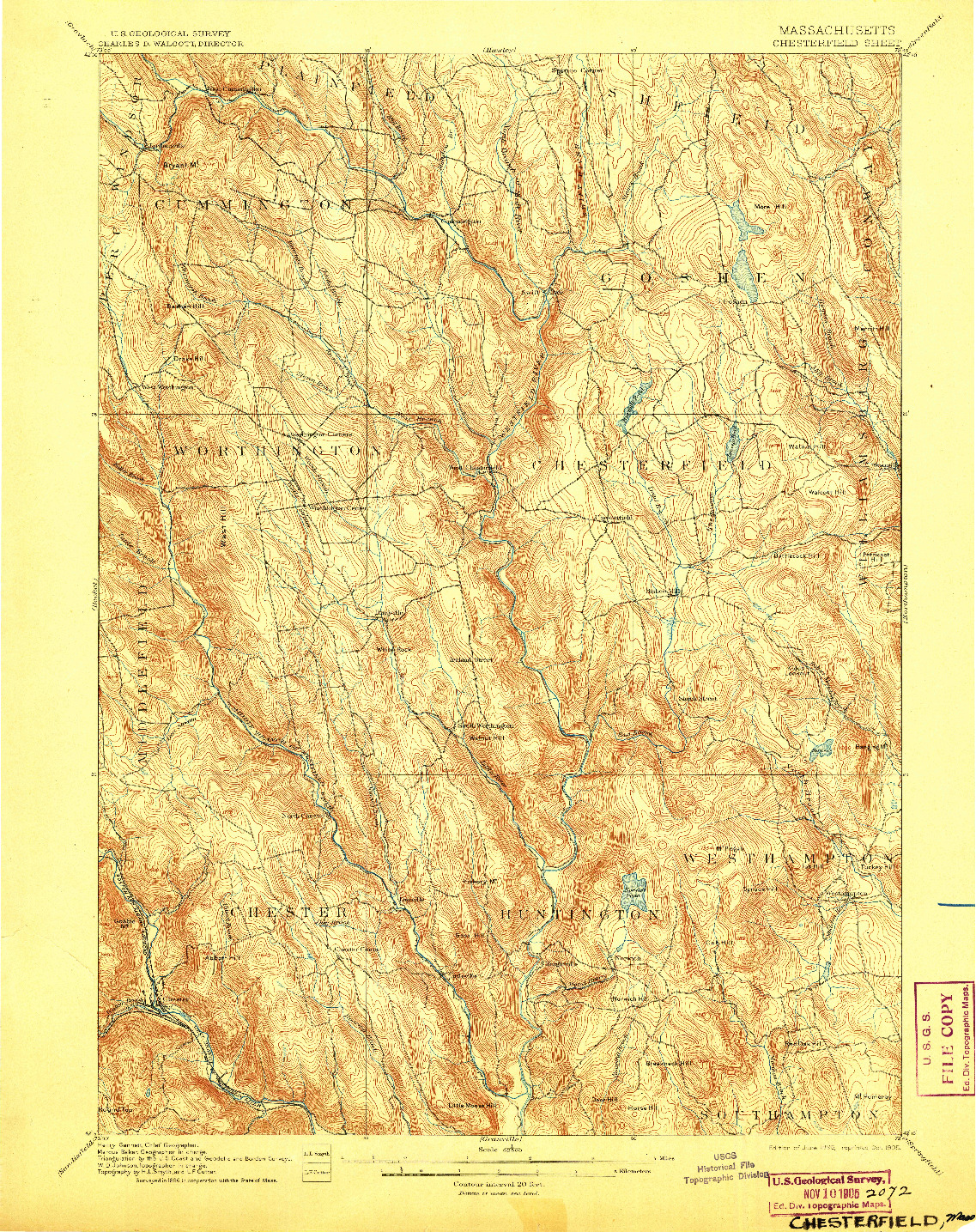 USGS 1:62500-SCALE QUADRANGLE FOR CHESTERFIELD, MA 1895