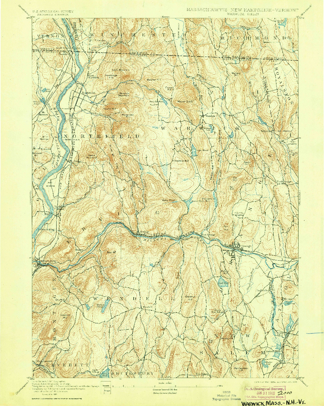 USGS 1:62500-SCALE QUADRANGLE FOR WARWICK, MA 1894