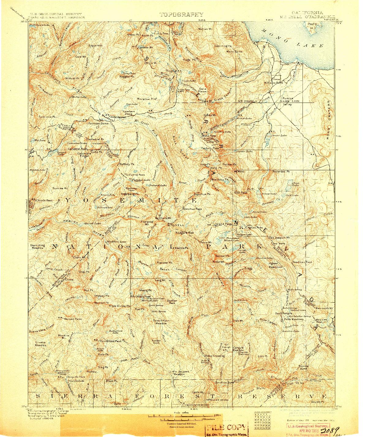 USGS 1:125000-SCALE QUADRANGLE FOR MT. LYELL, CA 1901