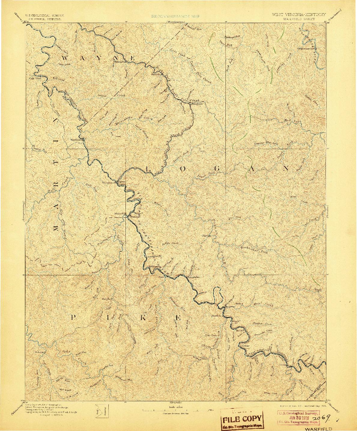 USGS 1:125000-SCALE QUADRANGLE FOR WARFIELD, WV 1891