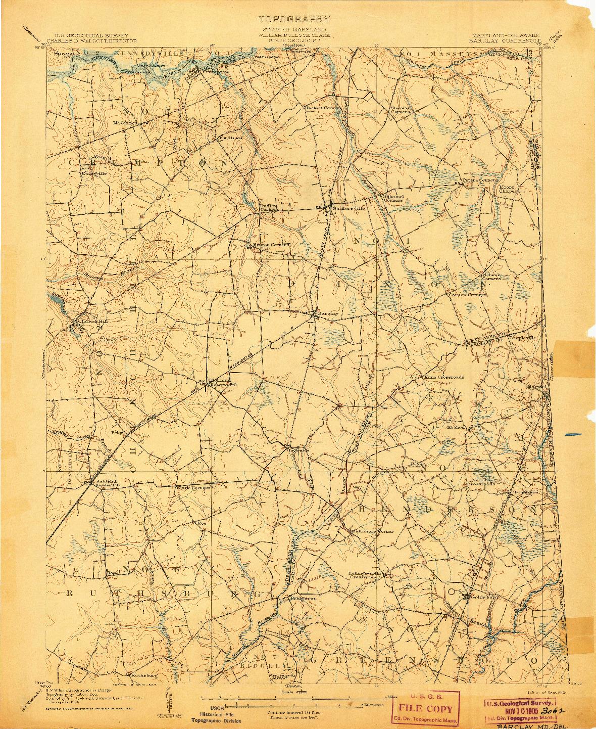 USGS 1:62500-SCALE QUADRANGLE FOR BARCLAY, MD 1905