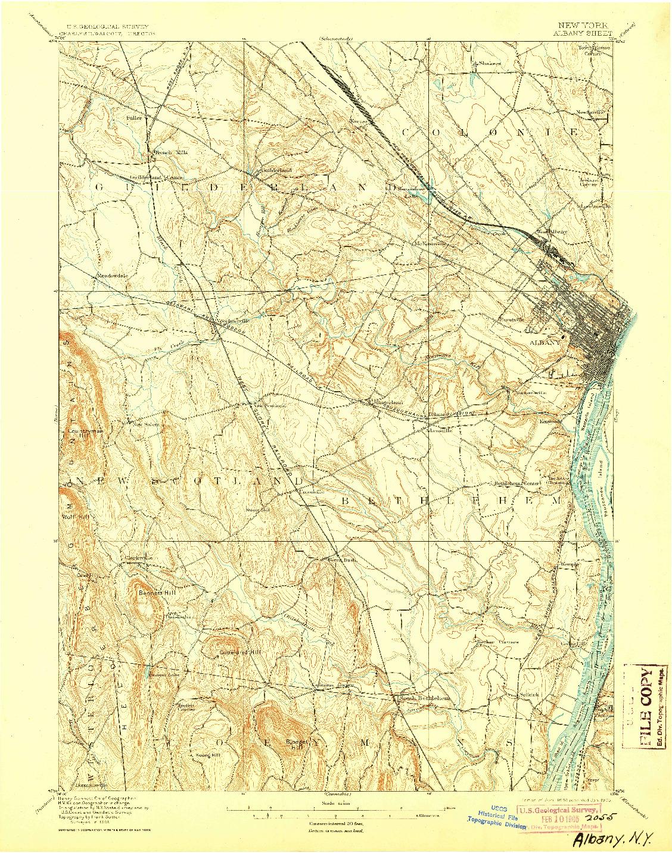 USGS 1:62500-SCALE QUADRANGLE FOR ALBANY, NY 1898