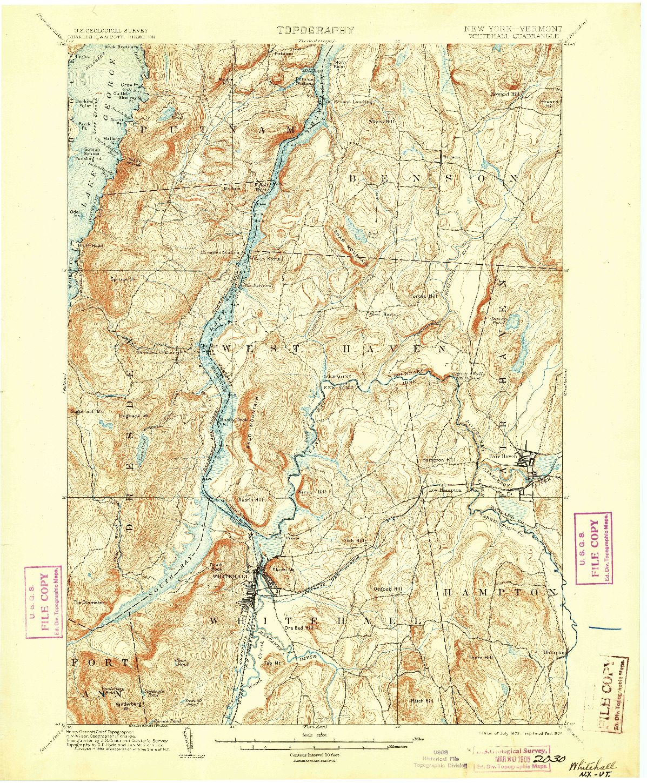 USGS 1:62500-SCALE QUADRANGLE FOR WHITEHALL, NY 1902