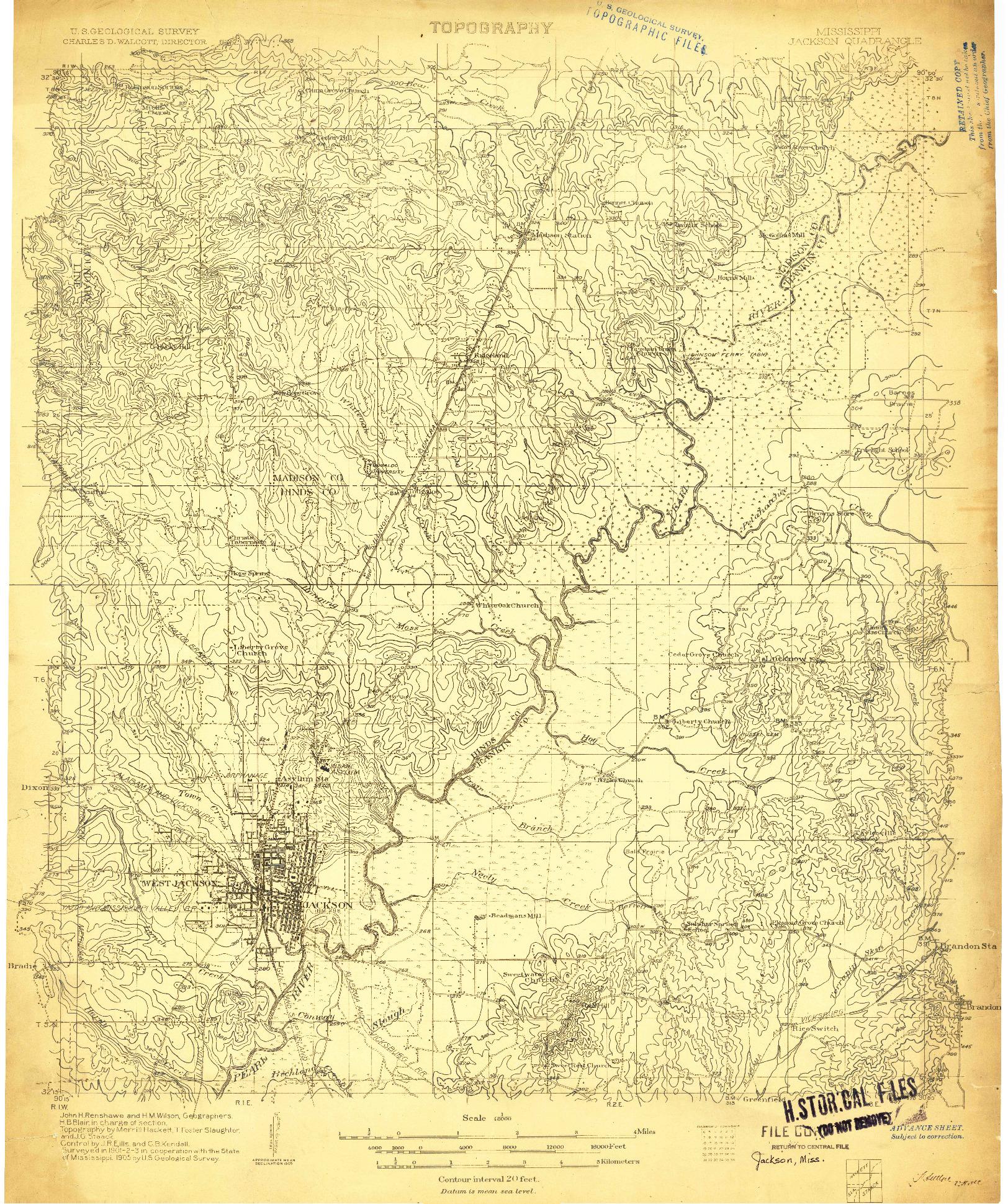 USGS 1:48000-SCALE QUADRANGLE FOR JACKSON, MS 1905