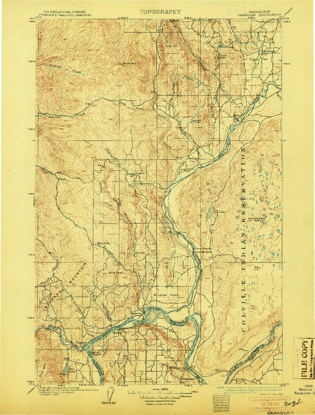 USGS 1:125000-SCALE QUADRANGLE FOR OKANOGAN, WA 1905