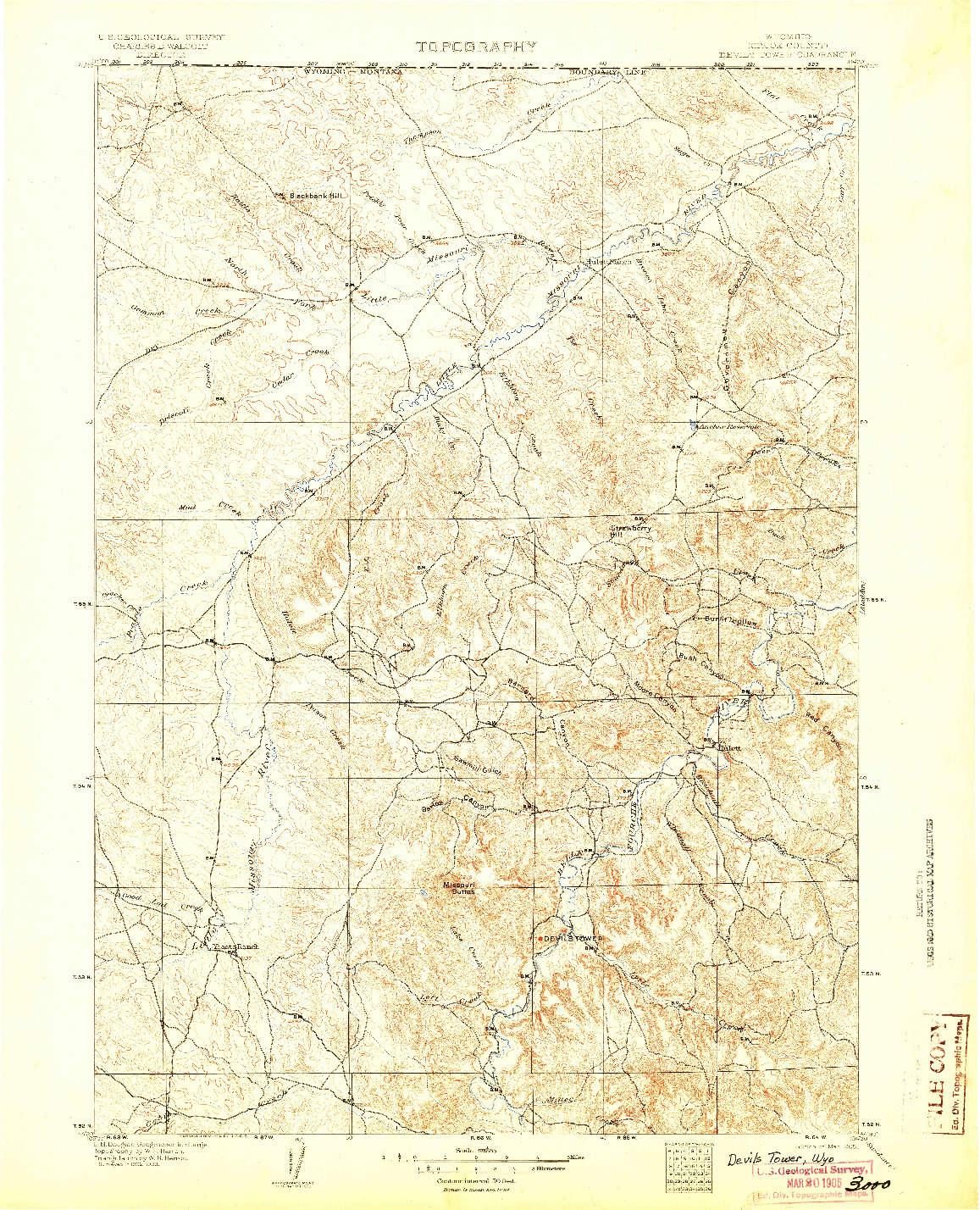 USGS 1:125000-SCALE QUADRANGLE FOR DEVILS TOWER, WY 1905