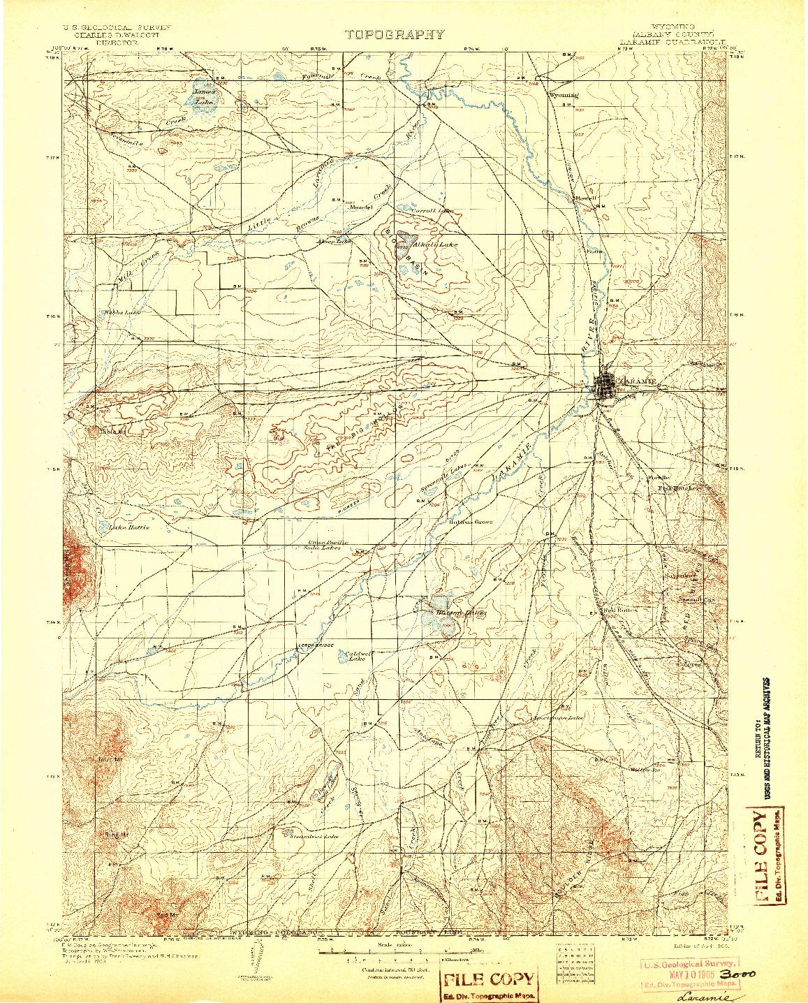 USGS 1:125000-SCALE QUADRANGLE FOR LARAMIE, WY 1905
