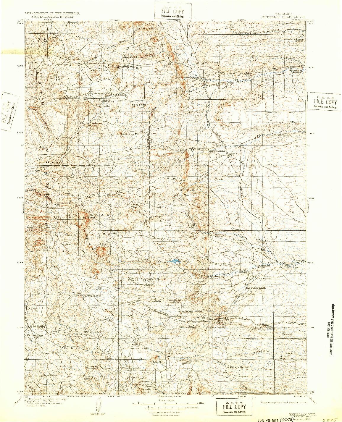 USGS 1:125000-SCALE QUADRANGLE FOR SHERMAN, WY 1905