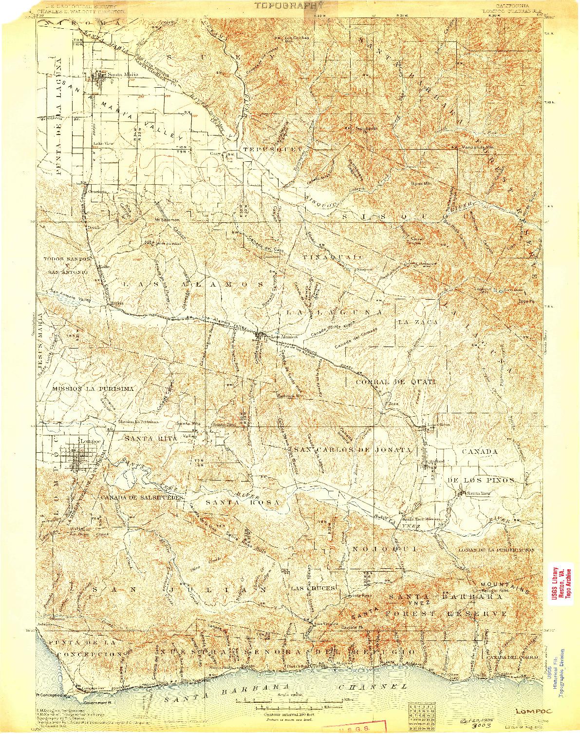 USGS 1:125000-SCALE QUADRANGLE FOR LOMPOC, CA 1905