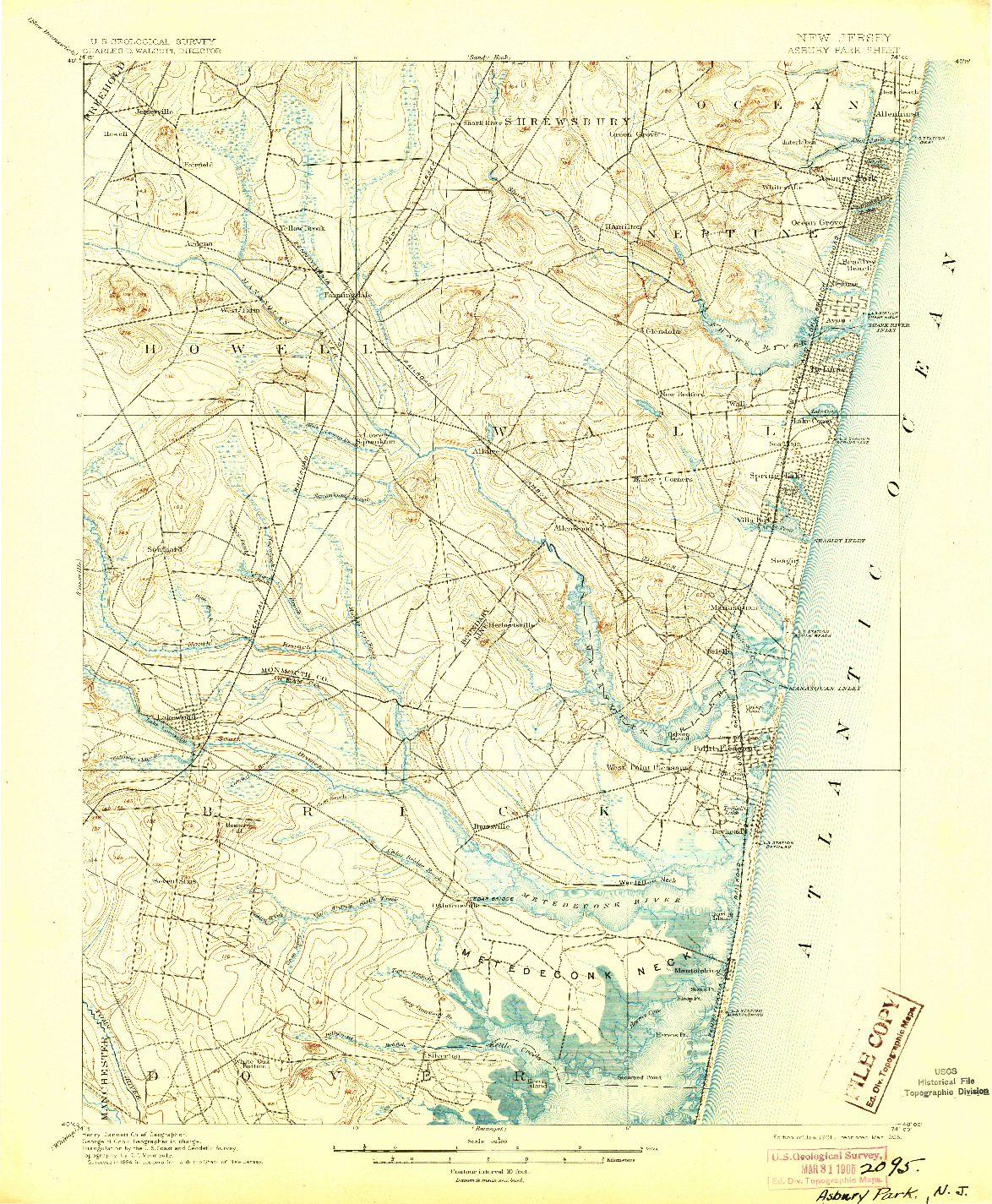 USGS 1:62500-SCALE QUADRANGLE FOR ASBURY PARK, NJ 1901