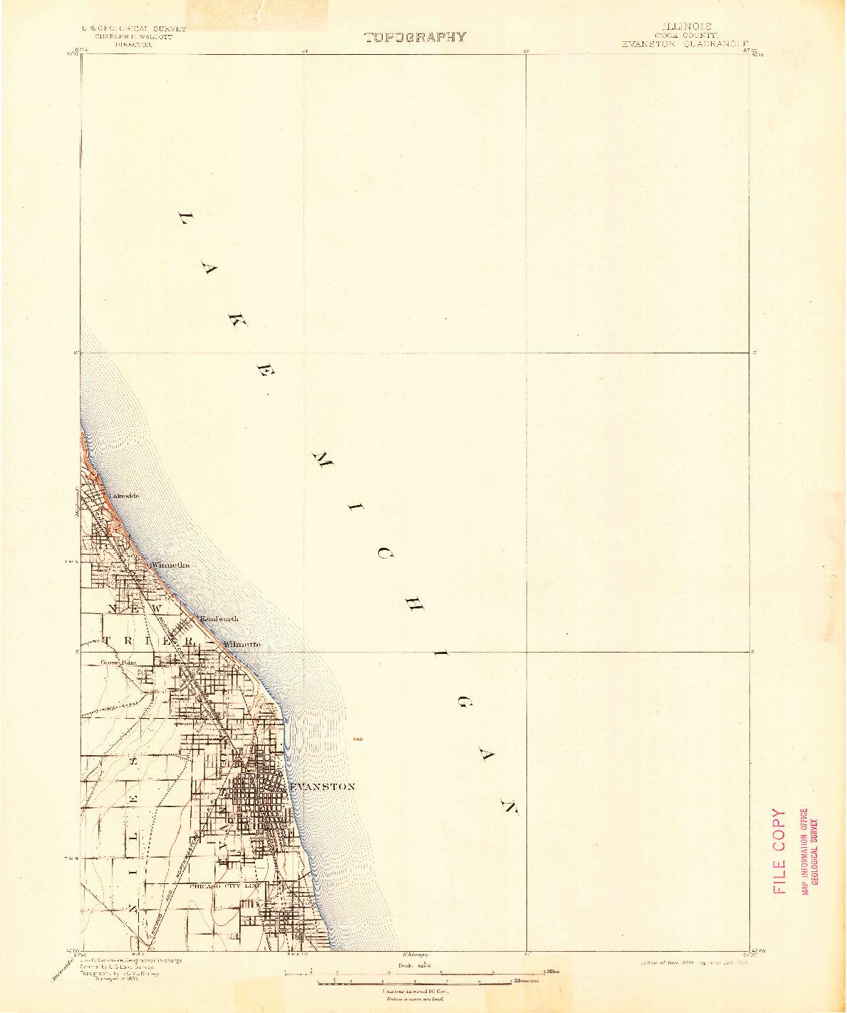 USGS 1:62500-SCALE QUADRANGLE FOR EVANSTON, IL 1899