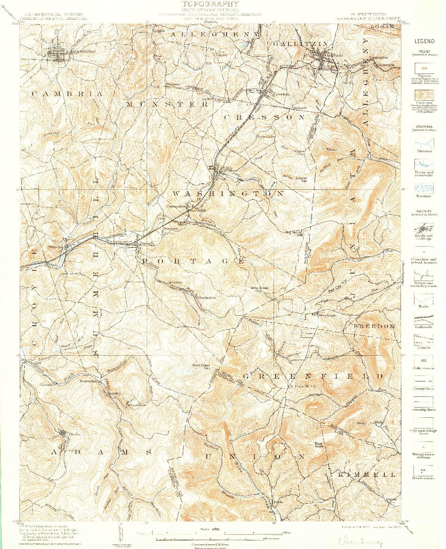 USGS 1:62500-SCALE QUADRANGLE FOR EBENSBURG, PA 1904