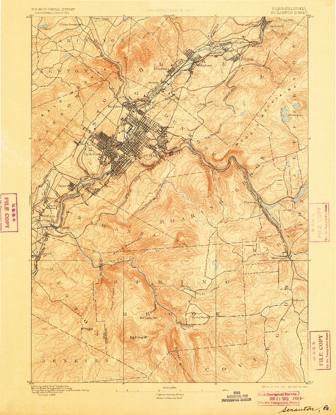USGS 1:62500-SCALE QUADRANGLE FOR SCRANTON, PA 1893