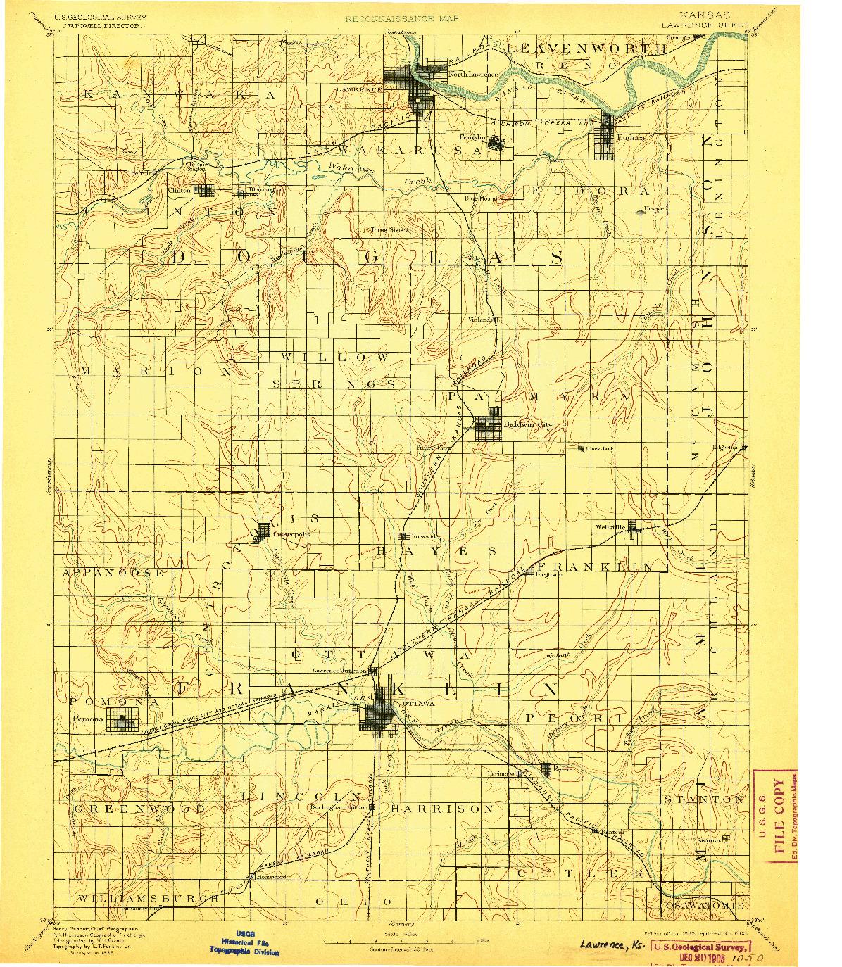 USGS 1:125000-SCALE QUADRANGLE FOR LAWRENCE, KS 1889