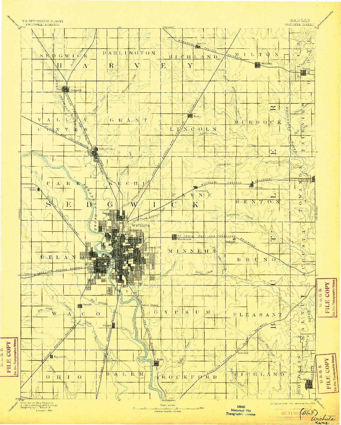 USGS 1:125000-SCALE QUADRANGLE FOR WICHITA, KS 1894