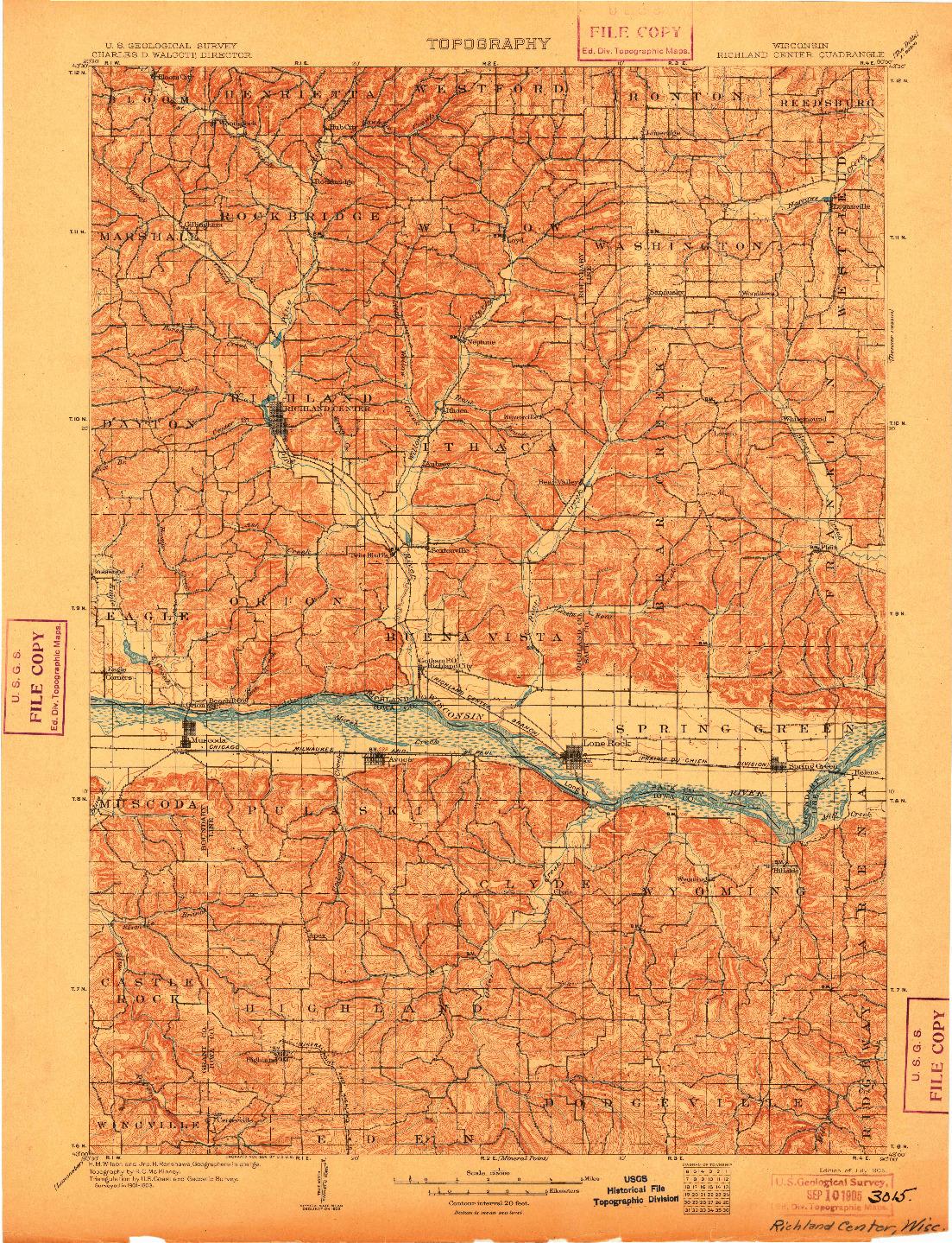 USGS 1:125000-SCALE QUADRANGLE FOR RICHLAND CENTER, WI 1905
