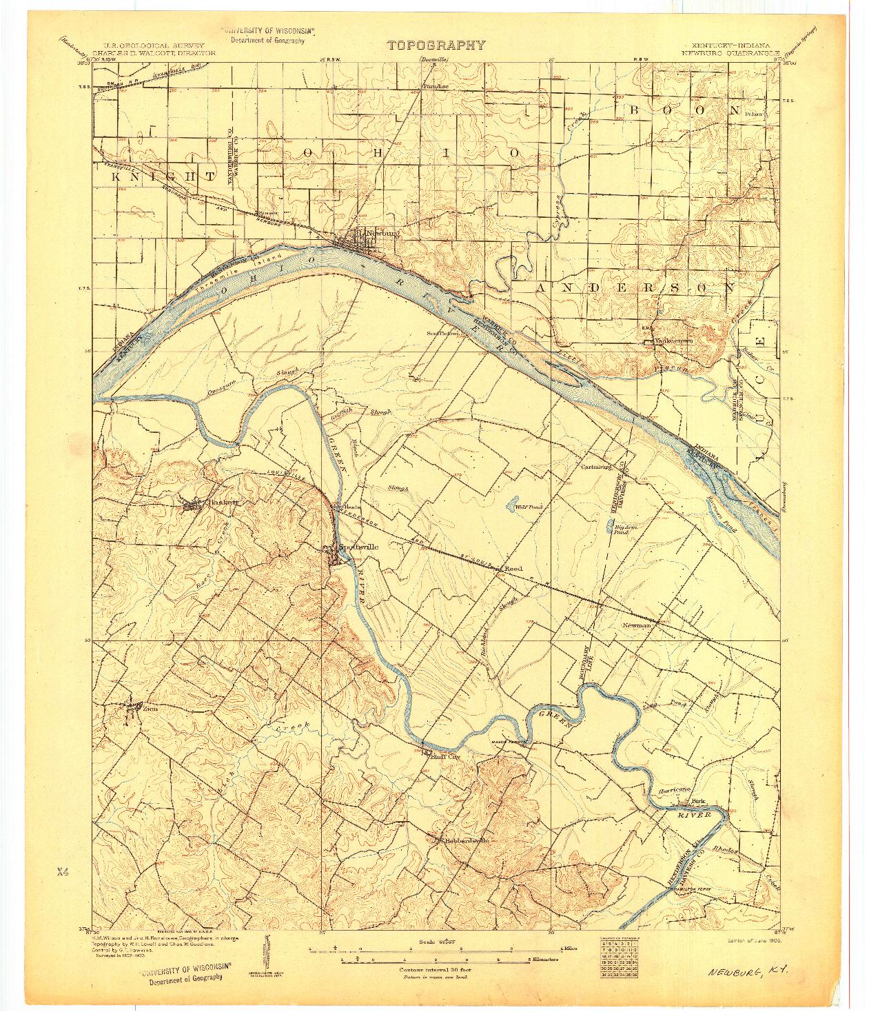 USGS 1:62500-SCALE QUADRANGLE FOR NEWBURG, KY 1905