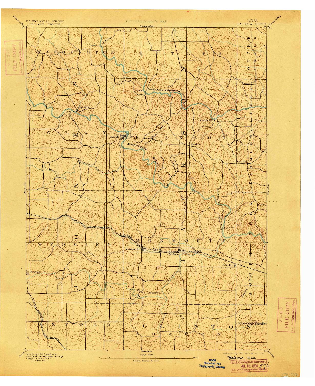 USGS 1:62500-SCALE QUADRANGLE FOR BALDWIN, IA 1891