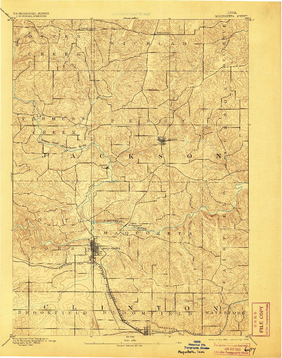 USGS 1:62500-SCALE QUADRANGLE FOR MAQUOKETA, IA 1891