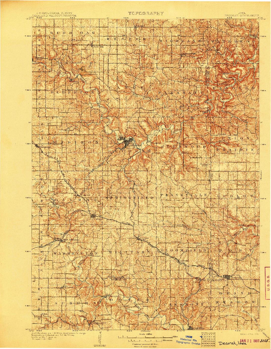 USGS 1:125000-SCALE QUADRANGLE FOR DECORAH, IA 1906