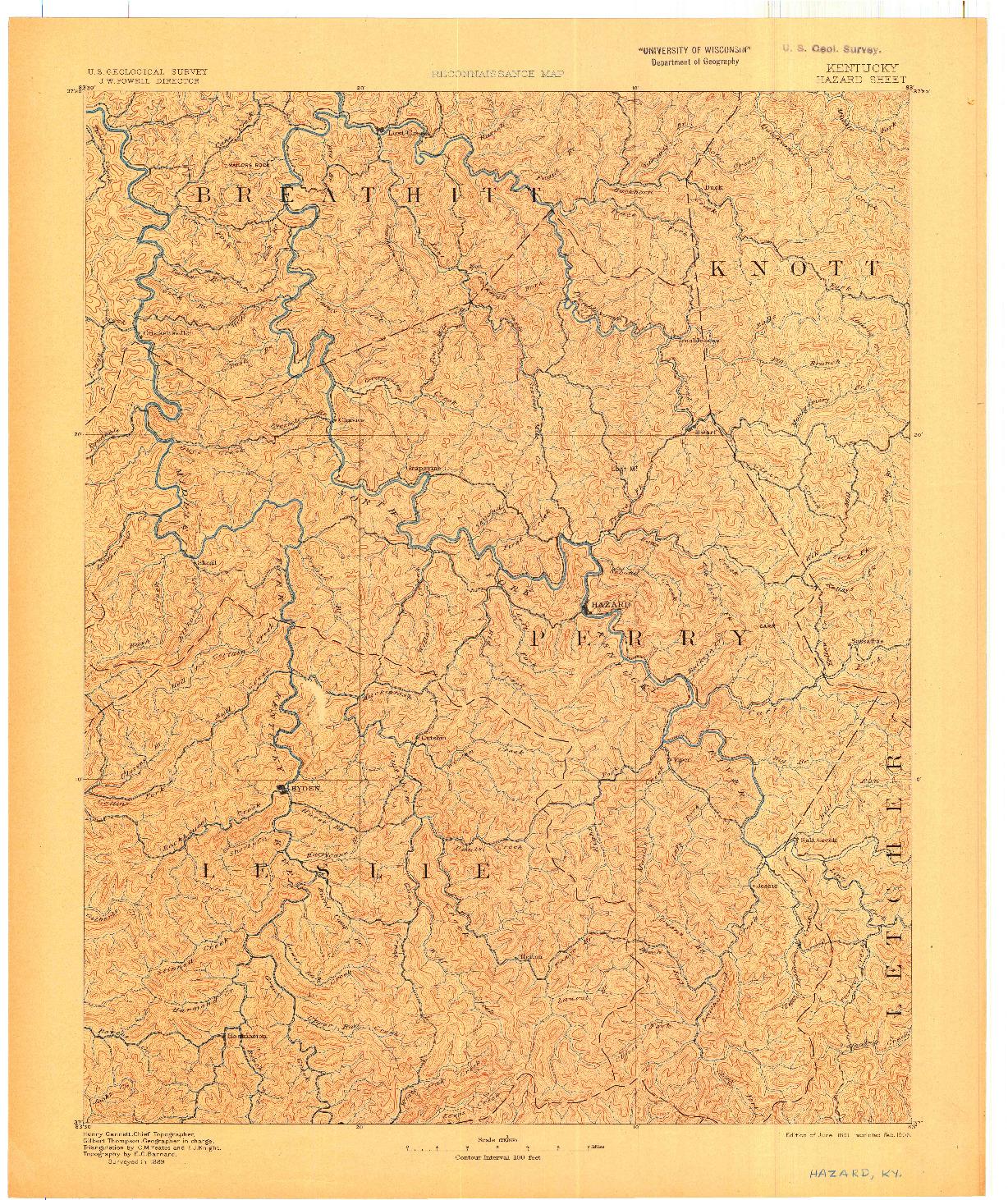 USGS 1:125000-SCALE QUADRANGLE FOR HAZARD, KY 1891