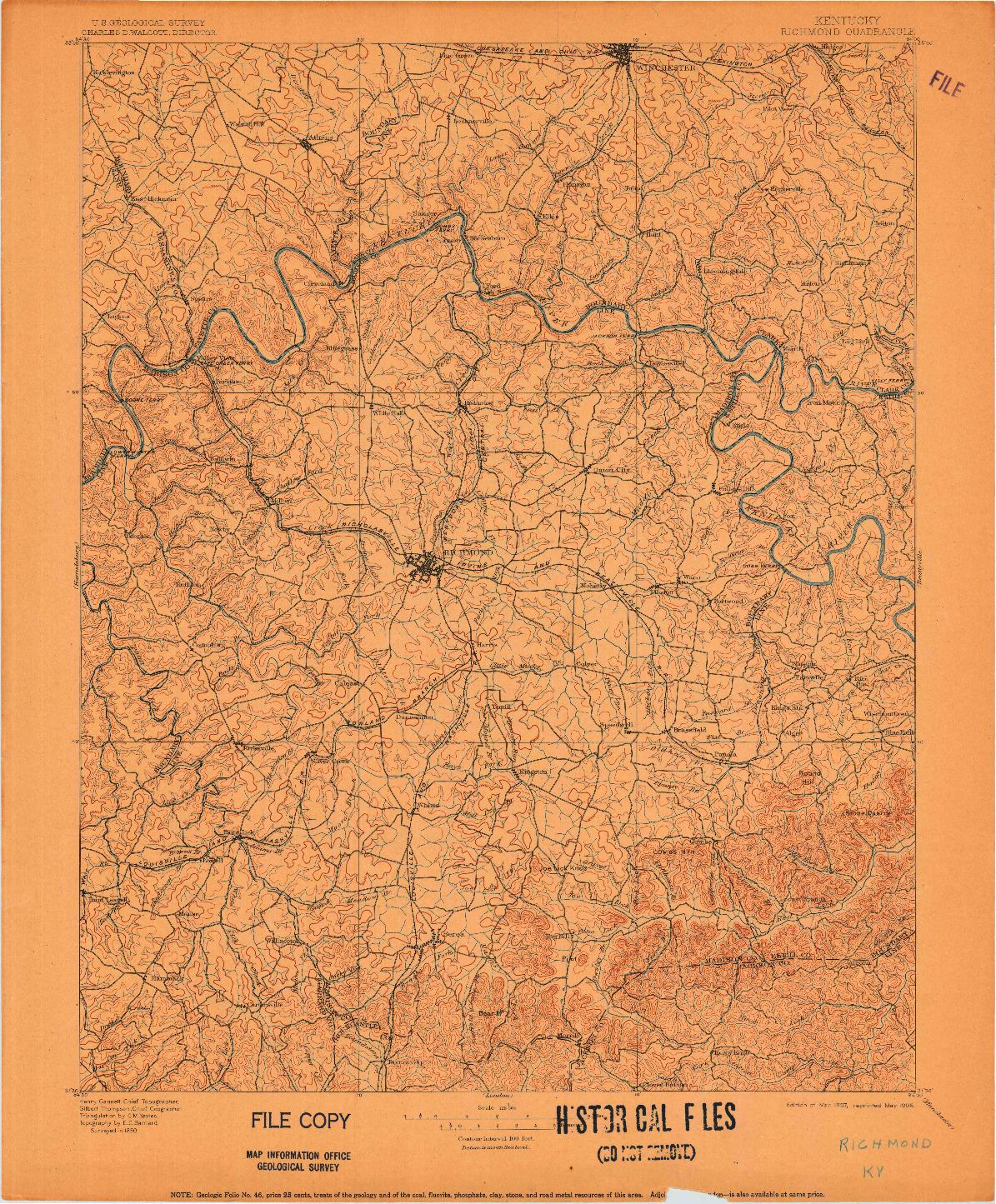 USGS 1:125000-SCALE QUADRANGLE FOR RICHMOND, KY 1897