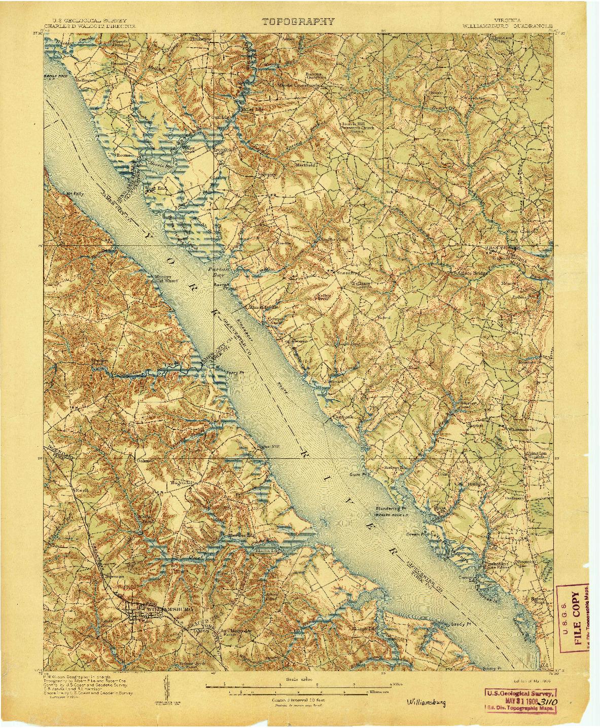 USGS 1:62500-SCALE QUADRANGLE FOR WILLIAMSBURG, VA 1906
