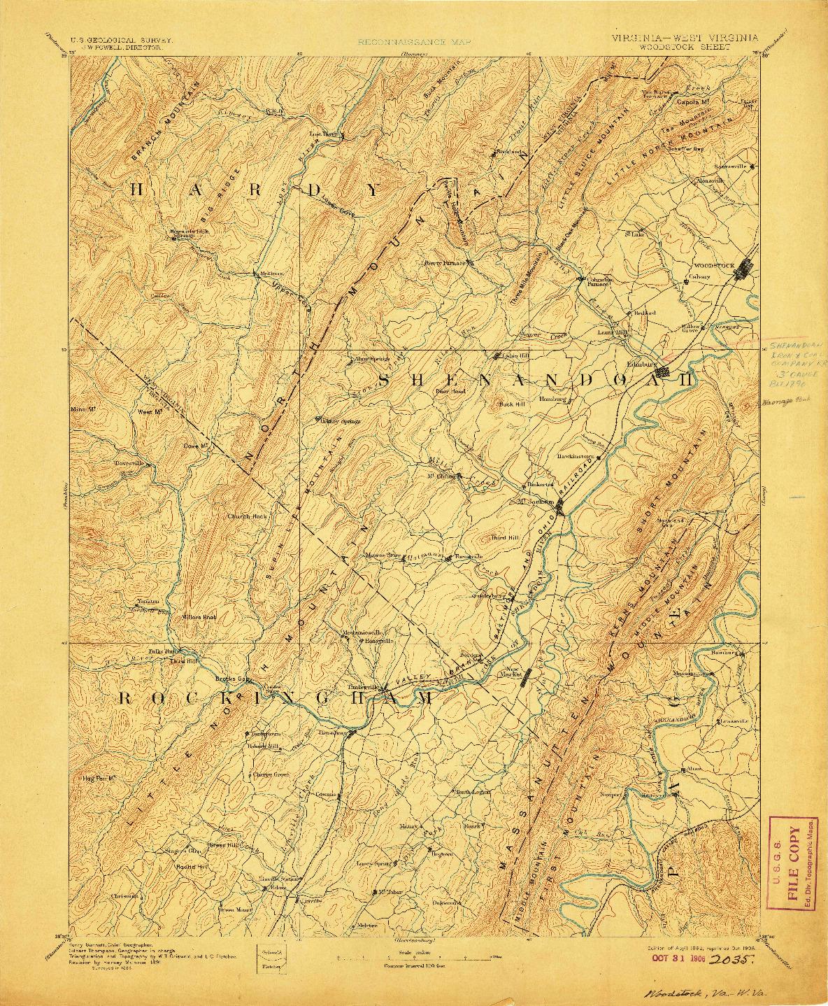 USGS 1:125000-SCALE QUADRANGLE FOR WOODSTOCK, VA 1892