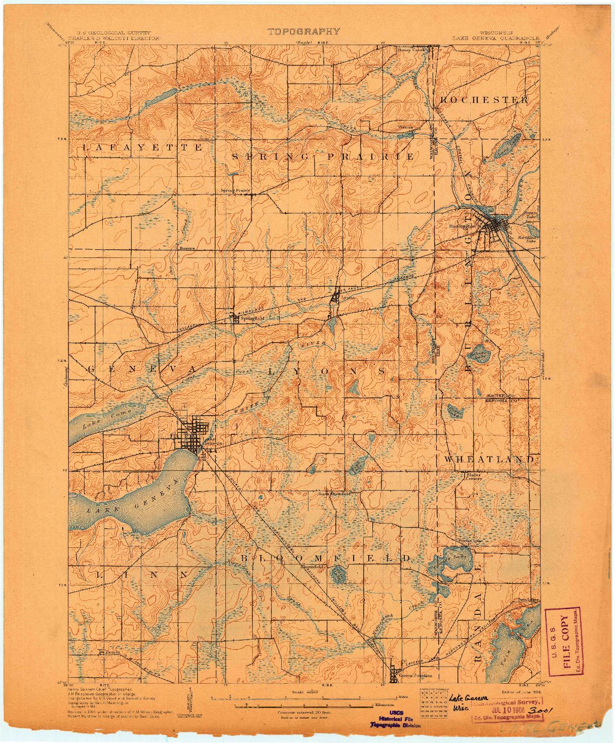 USGS 1:62500-SCALE QUADRANGLE FOR LAKE GENEVA, WI 1906