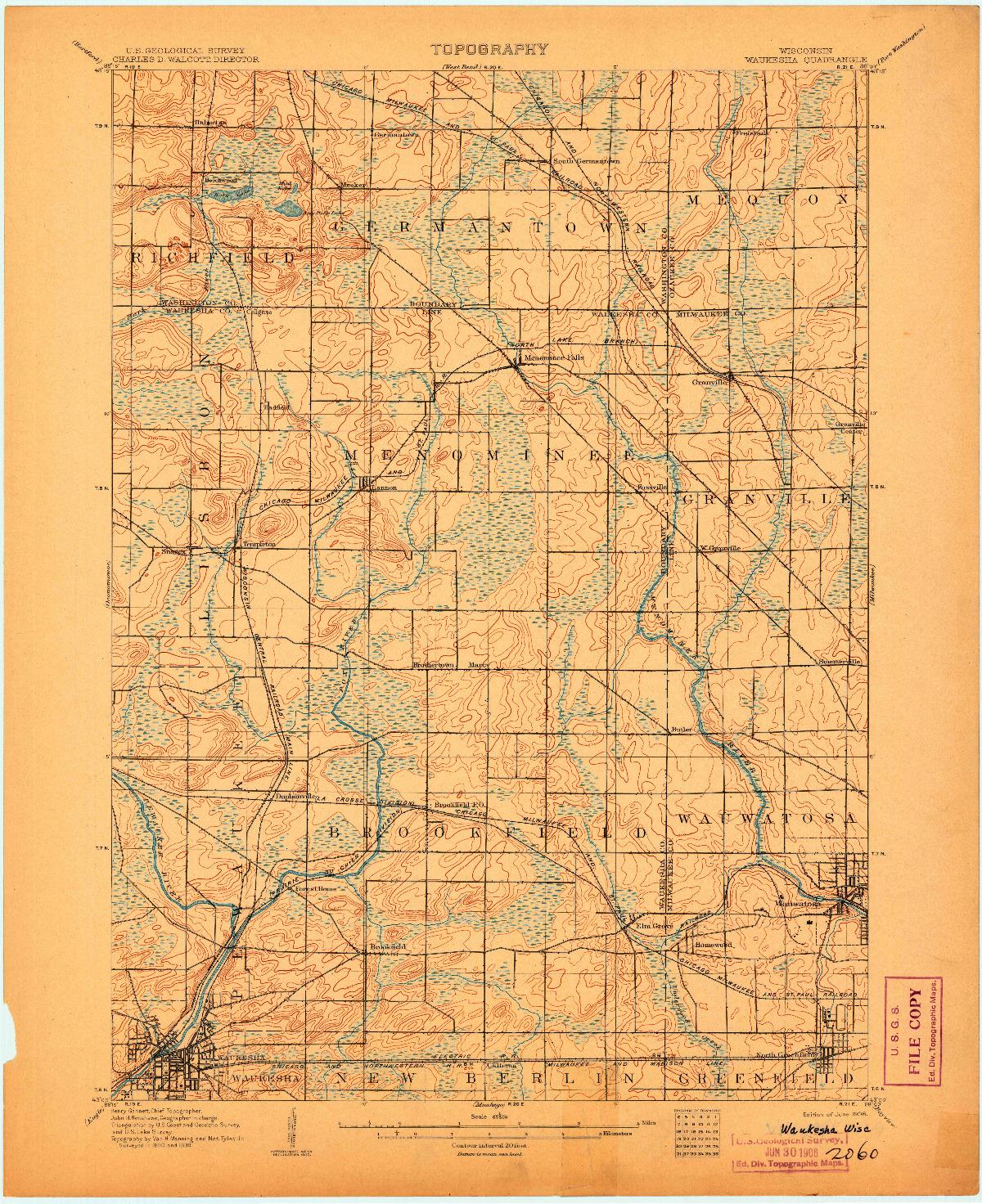 USGS 1:62500-SCALE QUADRANGLE FOR WAUKESHA, WI 1906