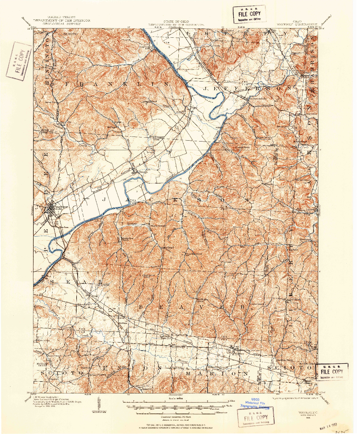 USGS 1:62500-SCALE QUADRANGLE FOR WAVERLY, OH 1906