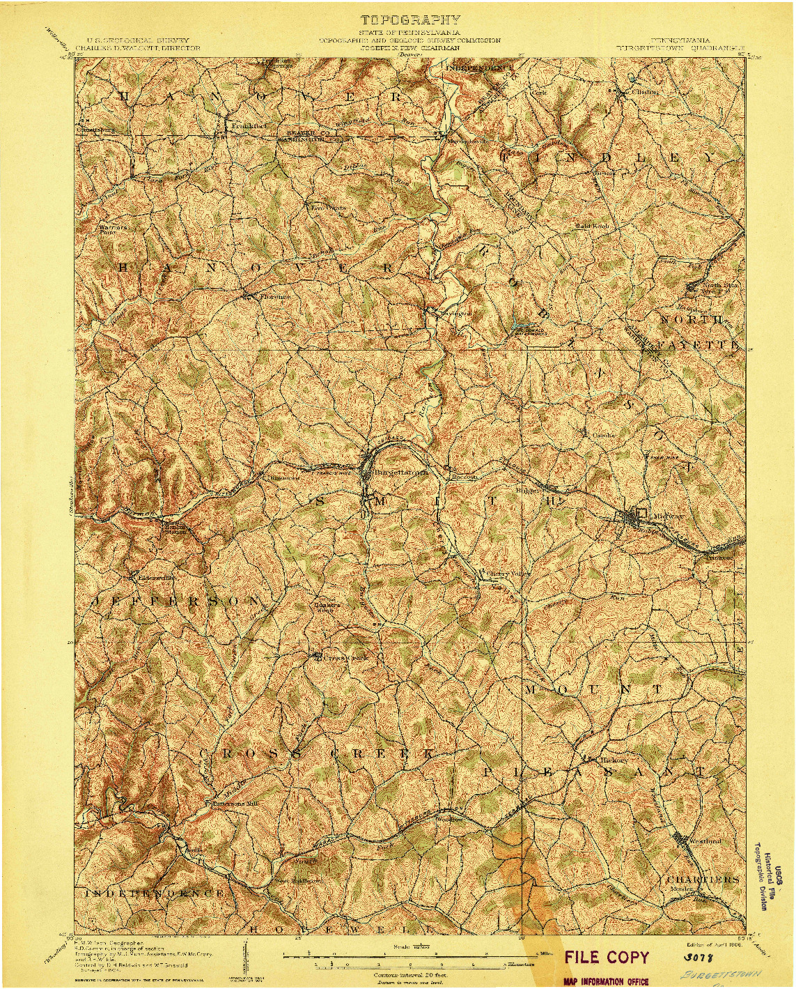 USGS 1:62500-SCALE QUADRANGLE FOR BURGETTSTOWN, PA 1906