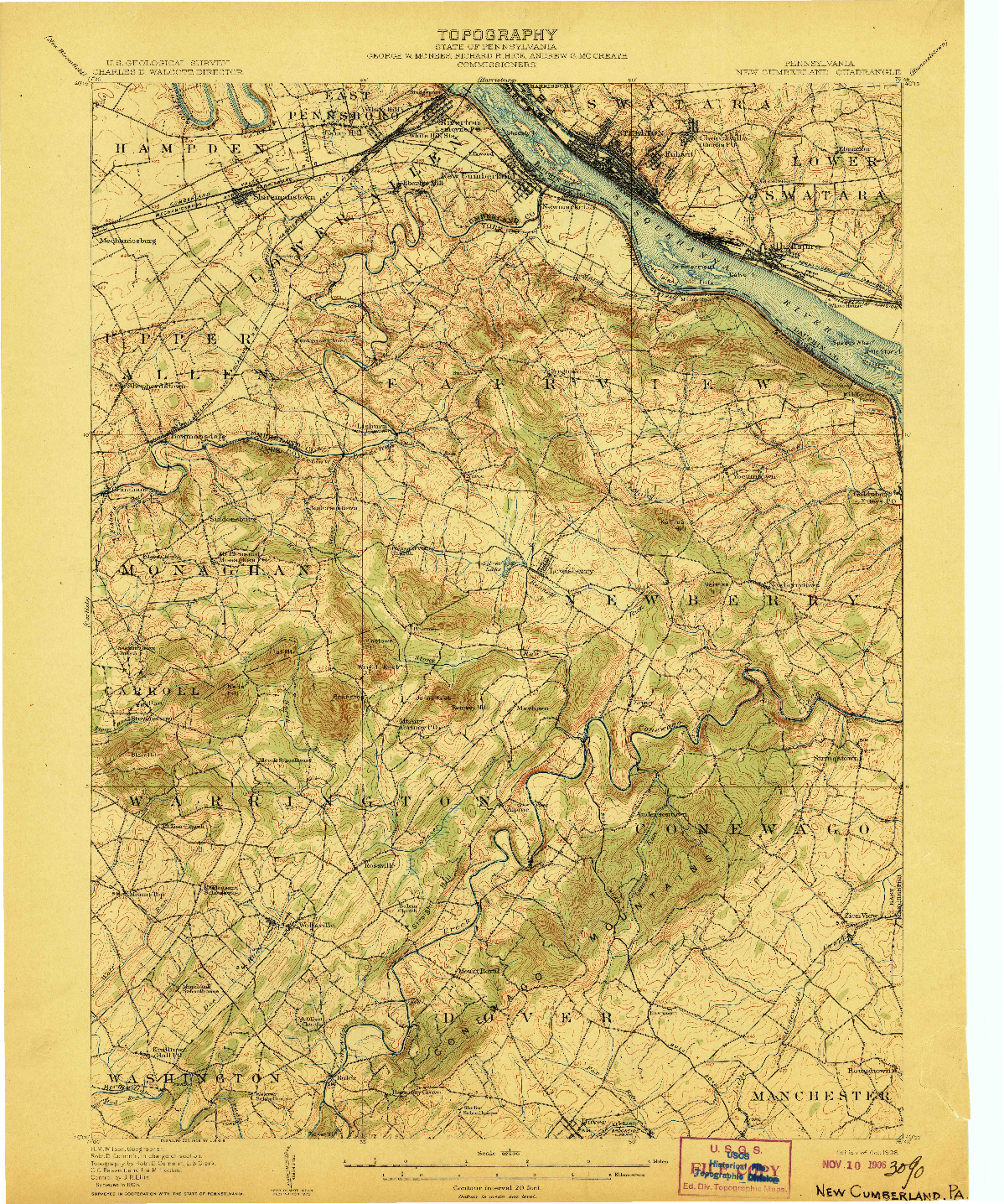 USGS 1:62500-SCALE QUADRANGLE FOR NEW CUMBERLAND, PA 1906