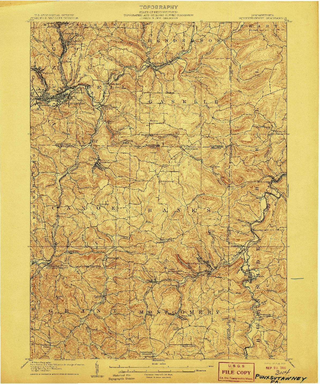 USGS 1:62500-SCALE QUADRANGLE FOR PUNXSUTAWNEY, PA 1906