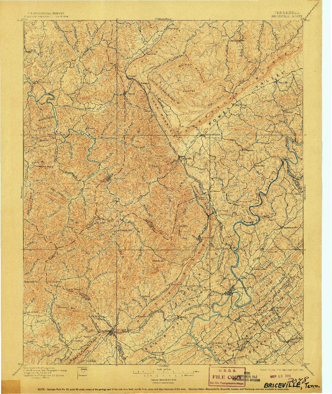 USGS 1:125000-SCALE QUADRANGLE FOR BRICEVILLE, TN 1896