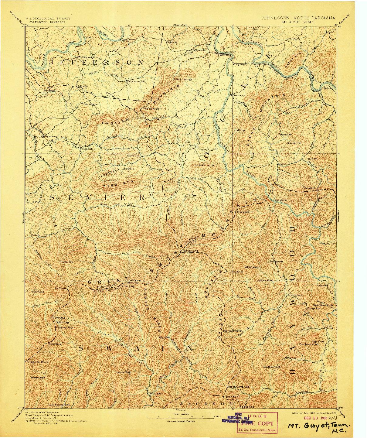 USGS 1:125000-SCALE QUADRANGLE FOR MT GUYOT, TN 1893
