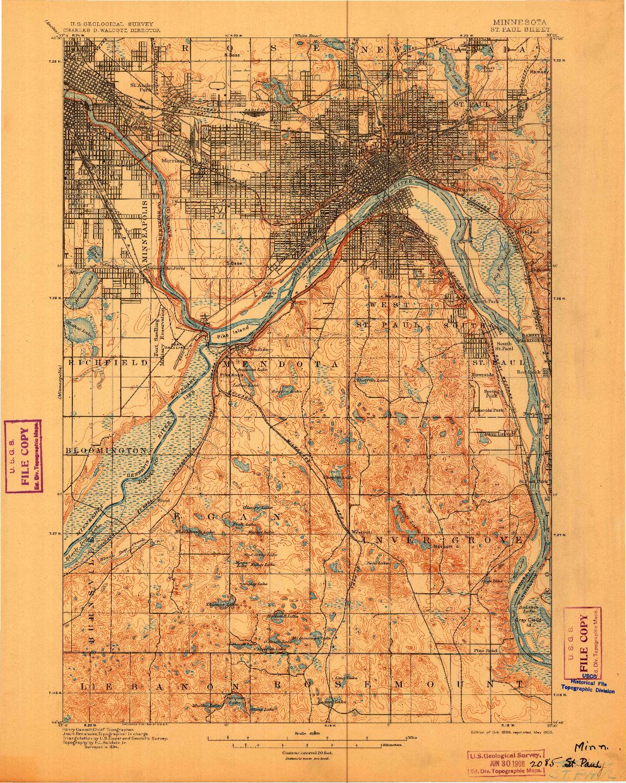 USGS 1:62500-SCALE QUADRANGLE FOR ST. PAUL, MN 1896
