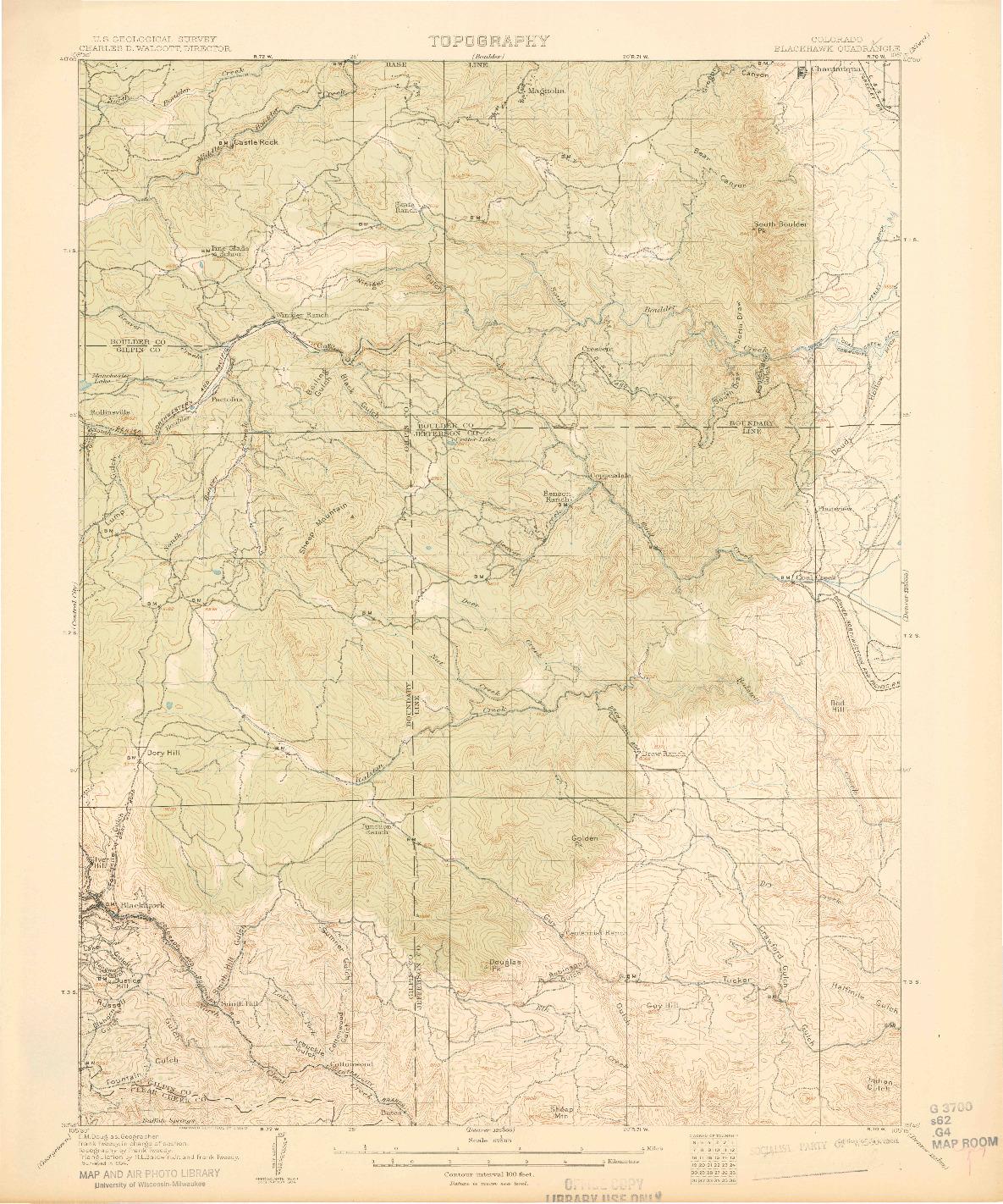 USGS 1:62500-SCALE QUADRANGLE FOR BLACKHAWK, CO 1906