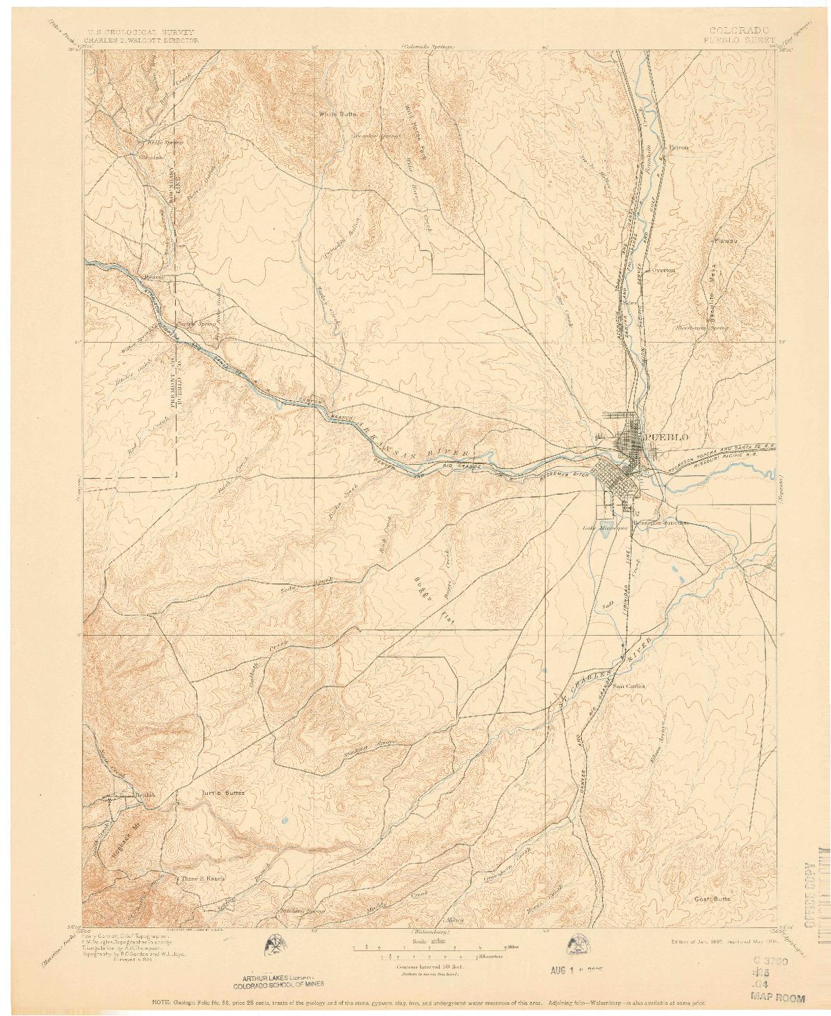 USGS 1:125000-SCALE QUADRANGLE FOR PUEBLO, CO 1897