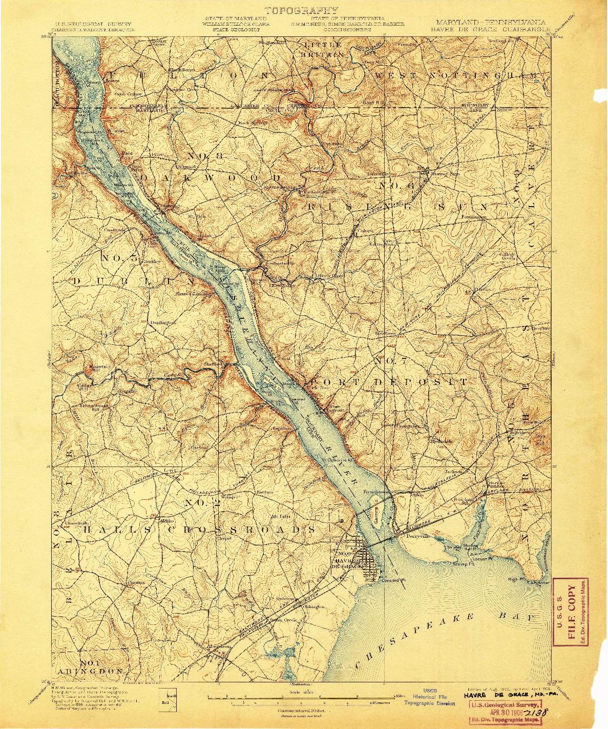USGS 1:62500-SCALE QUADRANGLE FOR HAVRE DE GRACE, MD 1900