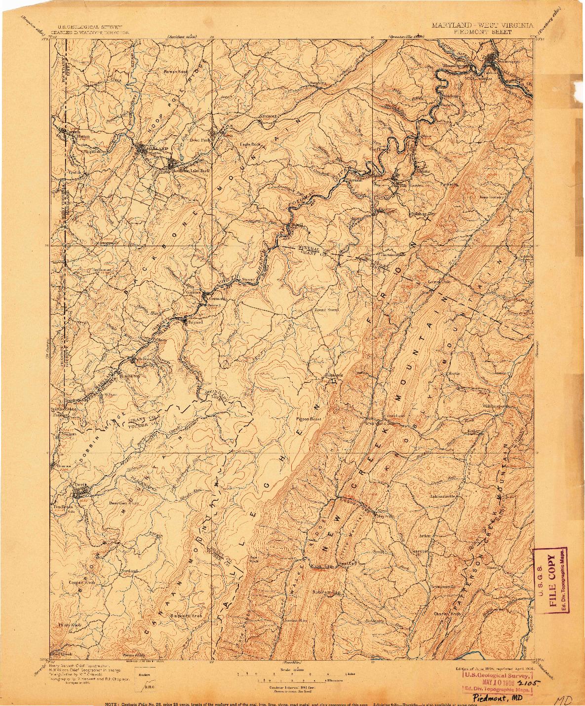 USGS 1:125000-SCALE QUADRANGLE FOR PIEDMONT, MD 1895
