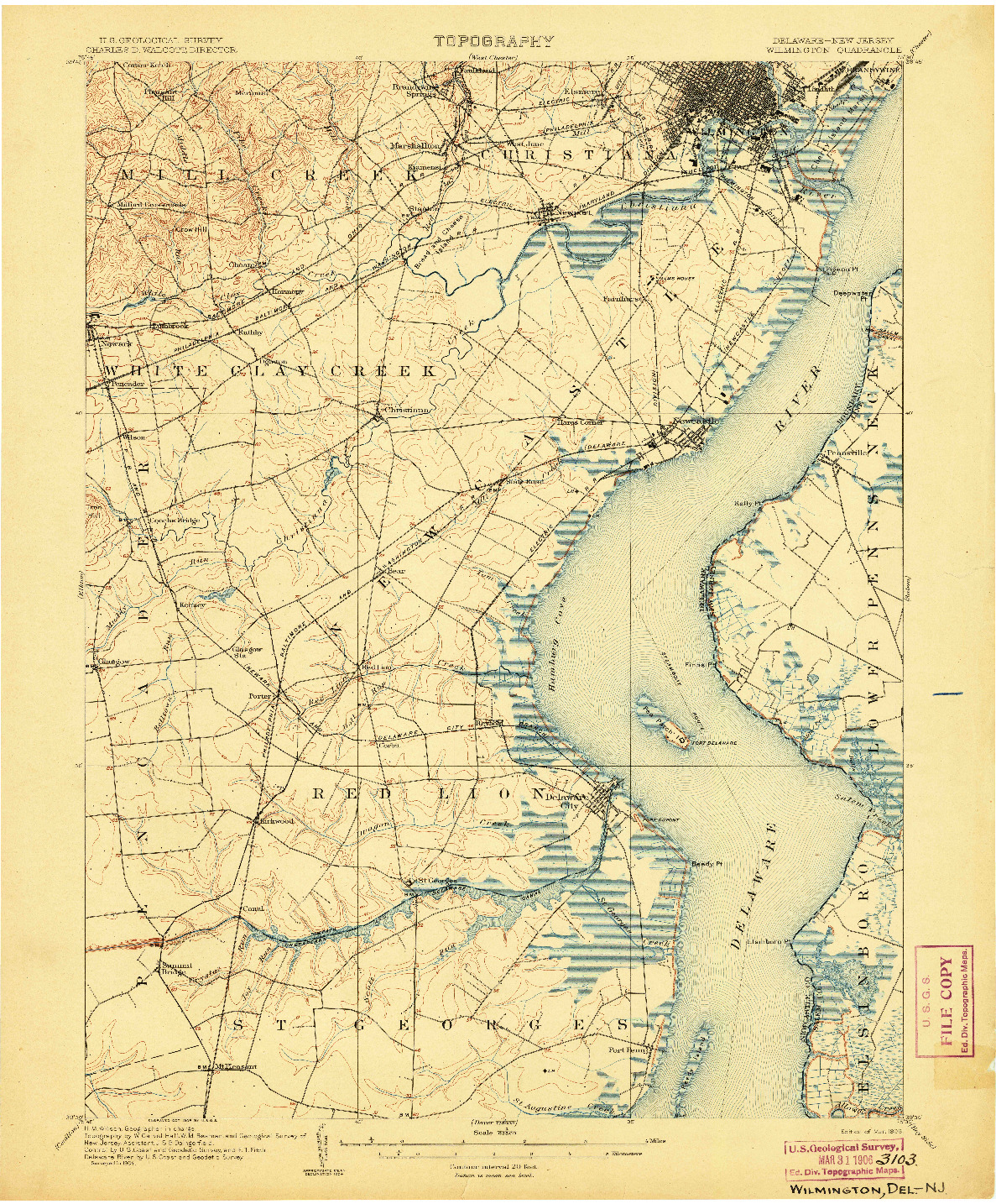 USGS 1:62500-SCALE QUADRANGLE FOR WILMINGTON, DE 1906