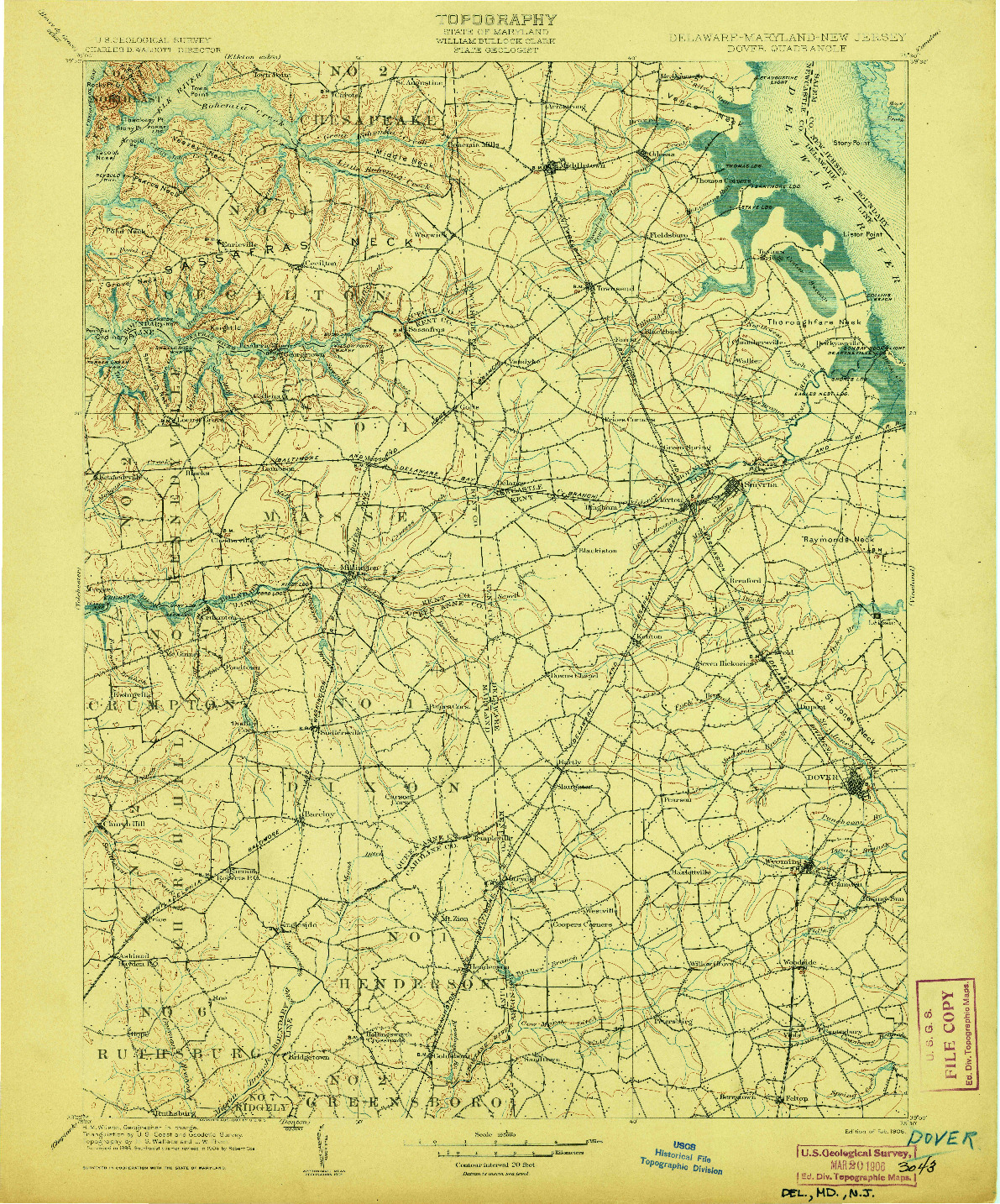USGS 1:125000-SCALE QUADRANGLE FOR DOVER, DE 1906