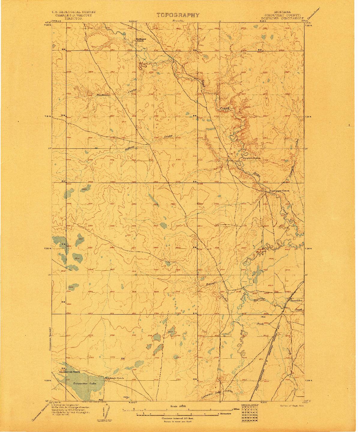 USGS 1:62500-SCALE QUADRANGLE FOR BOXELDER, MT 1906