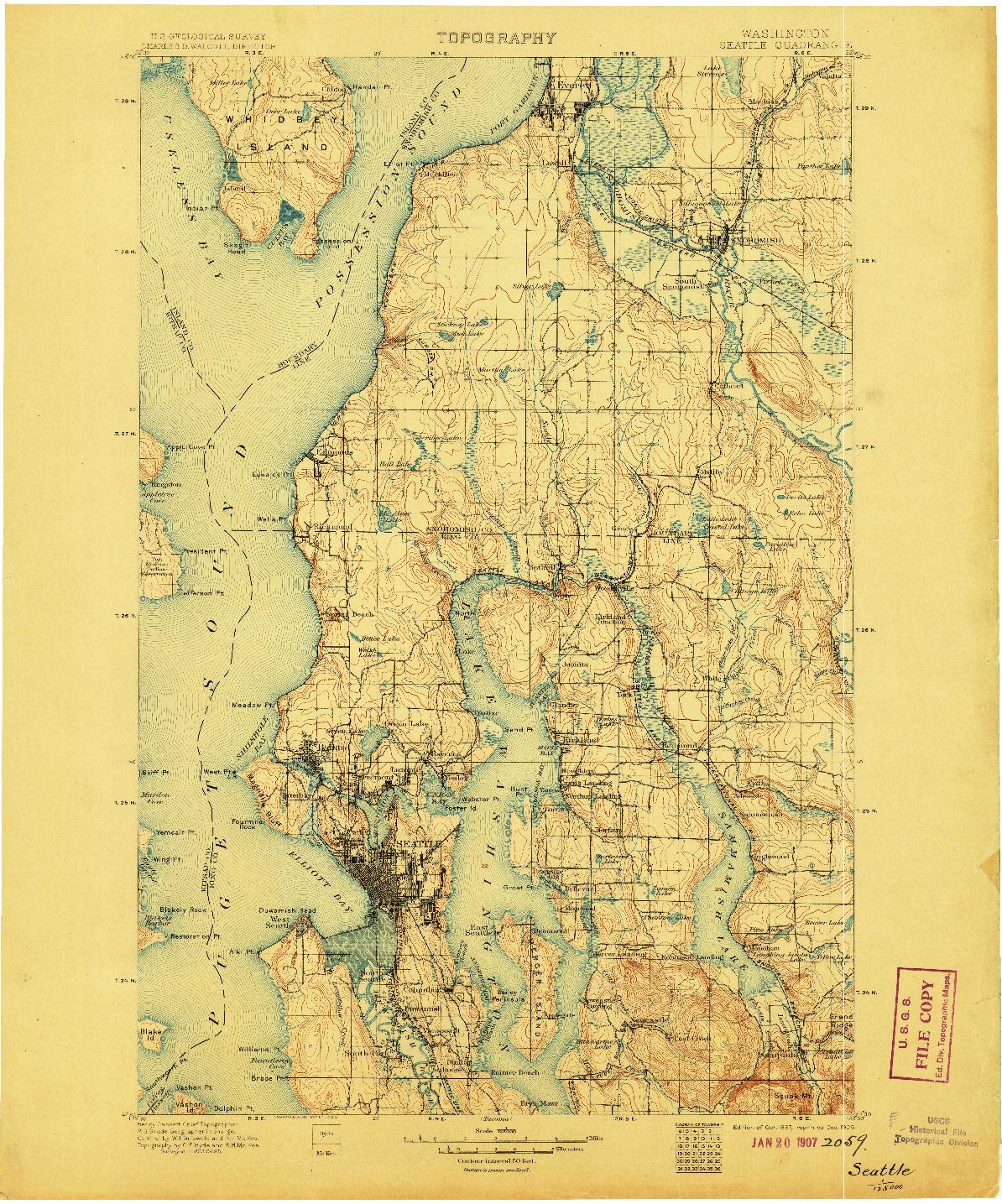 USGS 1:125000-SCALE QUADRANGLE FOR SEATTLE, WA 1897