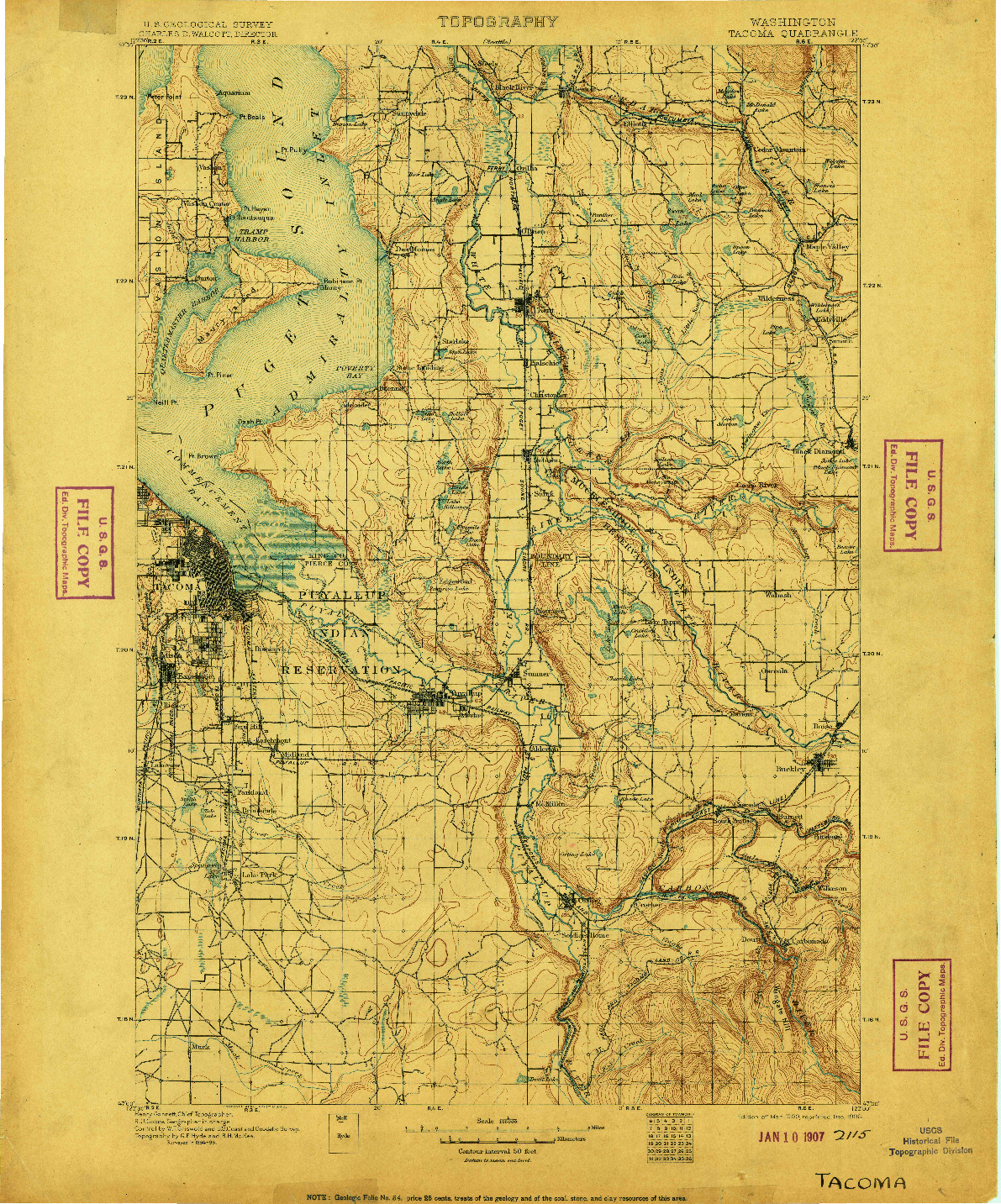 USGS 1:125000-SCALE QUADRANGLE FOR TACOMA, WA 1900