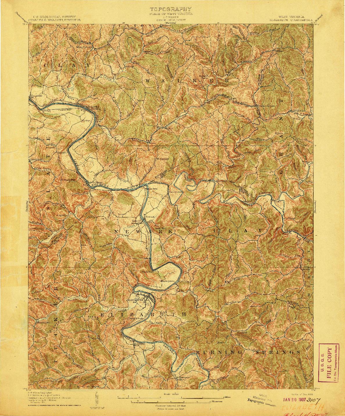 USGS 1:62500-SCALE QUADRANGLE FOR ELIZABETH, WV 1906